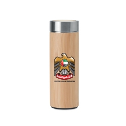 UAE Falcon Logo Bamboo Flask with Tea Infuser TZ-TM-011