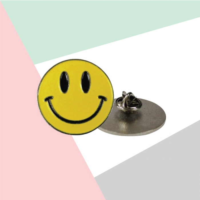 Smiley Metal Badges with Back Side Pin TZ-2114