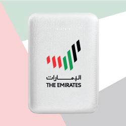 White Mini Power Bank 5000 mAh with The Emirates Logo