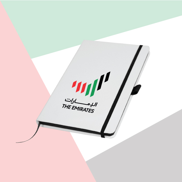 White Cover A5 Size PU Notebook with Emirates Logo