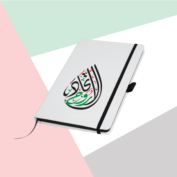 White Cover A5 Size PU Notebook with Spirit of Union Printing