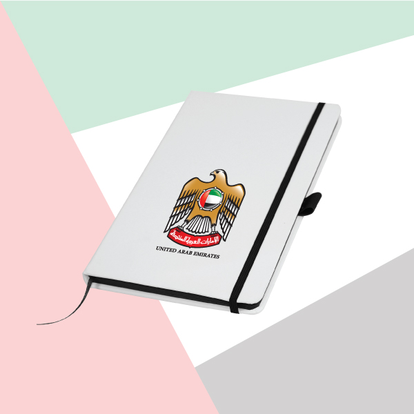 White Cover A5 Size PU Notebook with UAE Falcon Logo