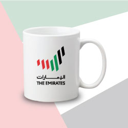 White Matt Sublimation Mug with The Emirates Logo