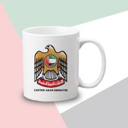 White Matt Sublimation Mug with UAE Falcon Logo